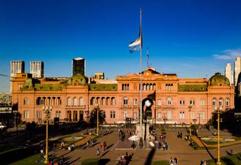 Casa Rosada Plaza de Mayo Federal District Buenos Aires Argentina - Beautiful high resolution drone photo sunny day at Casa Rosada in Plaza de Mayo Buenos Aires