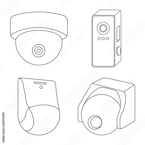 isolated object of cctv and camera icon collection of cctv and CCTV Camera isolated object of cctv and camera icon collection of cctv and system stock symbol for