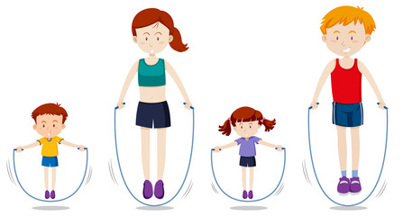 A family rope jumping