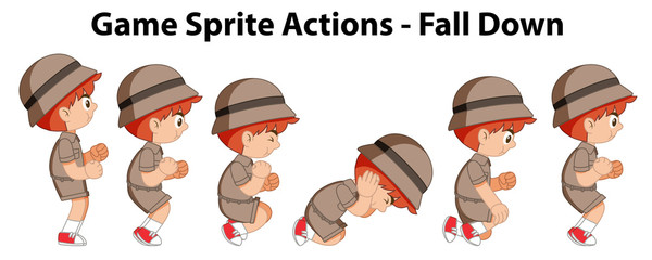 Game sprite actions - fall down