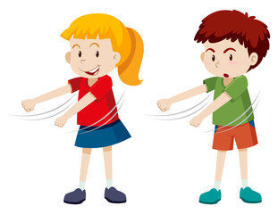 Boy and girl floss dancing