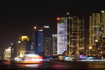 Canvas Prints New York Night panorama of beautiful Shanghai city with bright lights, China