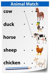 An animal matching worksheet