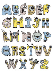 Halloween alphabet with funny monster characters,Monster Cartoon