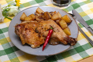 Herbs de Provence grilled Chicken with roasted potatoes and red chili pepper