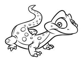 Little lizard cartoon illustration isolated image coloring page