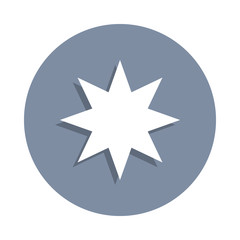 eight-pointed star icon in badge style. One of web collection icon can be used for UI, UX