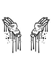2 hände blut tropfen graffiti hand arm abgetrennt zombie tot gestorben biohazard infektion apokalypse comic cartoon clipart untoter wandelnde leiche horror halloween