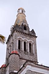 low view angle of bell tower of Parroquia de San Francisco de Asís