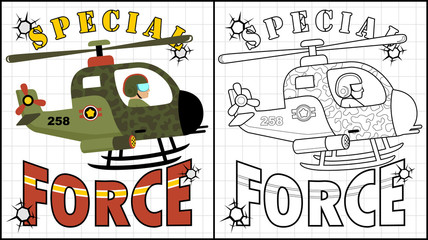 Vector illustration of coloring book or page with air force cartoon