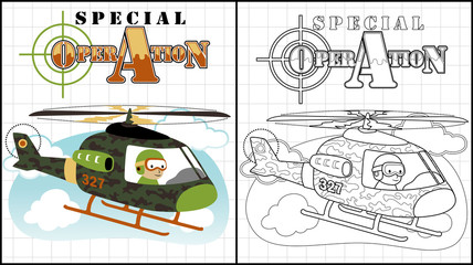 Vector illustration of coloring book or page with helicopter cartoon