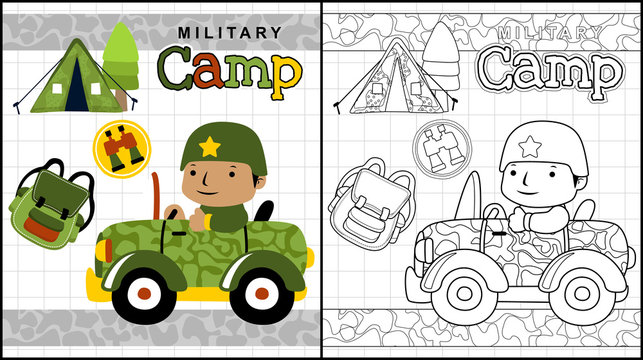 Vector illustration of coloring book or page with
