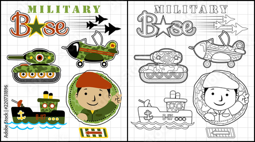 Vector illustration of coloring book or page with military