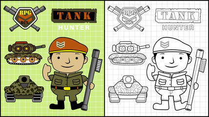 Vector illustration of coloring book or page with little soldier cartoon, armored vehicles