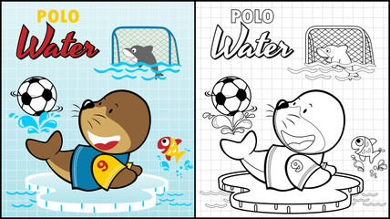 Vector illustration of coloring book or page with marine animals cartoon playing polo water