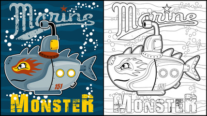 Vector illustration of coloring book or page with submarine monster cartoon