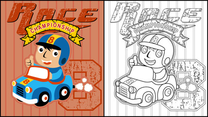 Vector illustration of coloring book or page with little racer cartoon on race car
