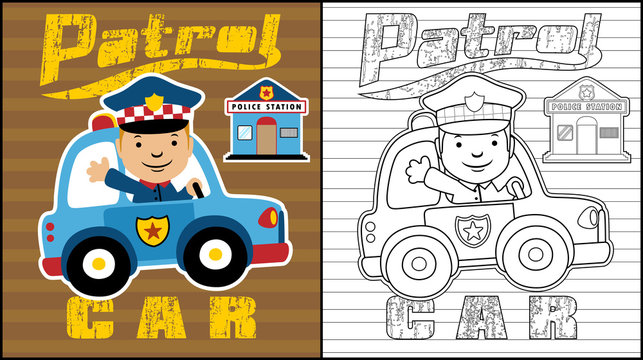 Vector illustration of coloring book or page with little cop cartoon on patrol car