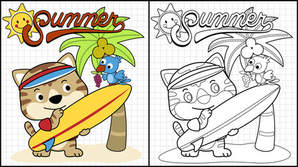 Vector illustration of coloring book or page with funny surfer cartoon at summer