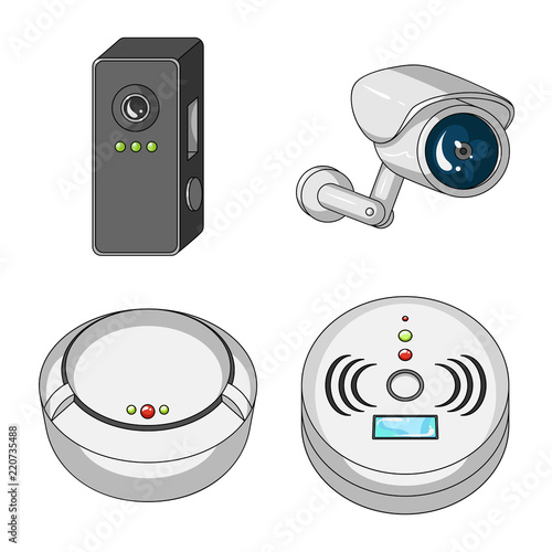 Vector design of cctv and camera logo  Set of cctv and