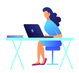 Business woman with dark hair working on laptop at her office desk. Office workplace with laptop, young woman designer and developer, programmer and freelancer concept. Isolated on white background.