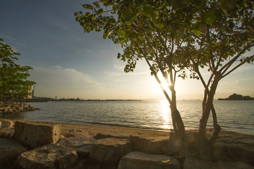 Public park near beach at Sriracha Chonburi, The small town in middle largest industry of Thailand