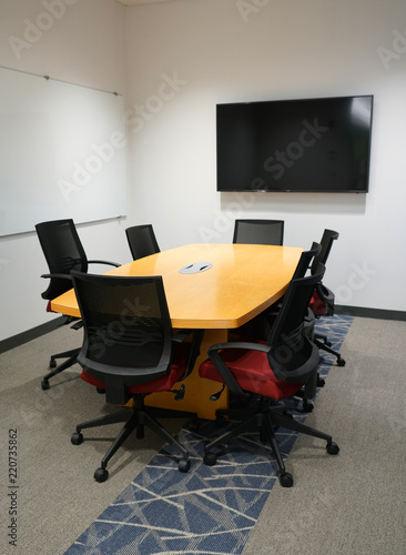 Long Meeting Table And Chairs In The Meeting Room Stock Photo And - Long meeting table