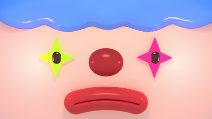 Cartoon sad face clown close up. 3d rendering picture.