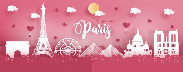 Fototapete - Panorama travel postcard and poster of Paris, France in paper origami style. Love and honeymoon trip concept. Vector illustration.