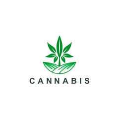 cannabis logo, marijuana medical leaf icon symbol logo template vector illustration