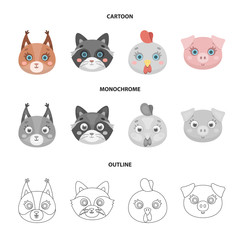 Protein, raccoon, chicken, pig. Animal s muzzle set collection icons in cartoon,outline,monochrome style vector symbol stock illustration web.