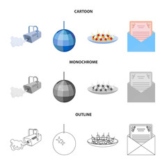 A video camera with smoke, a twirling holiday ball, a plate of sandwiches, an envelope with a greeting card. Event services set collection icons in cartoon,outline,monochrome style vector symbol stock