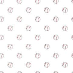 Vector seamless pattern with baseball on a white background. Stylish sports themes backdrop for textiles and any other design.