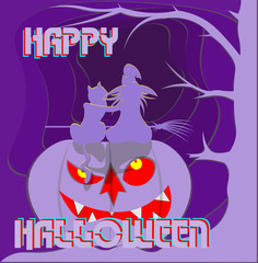 witch with a cat on a pumpkin in front of the portal happy halloween papercut logo, postcard