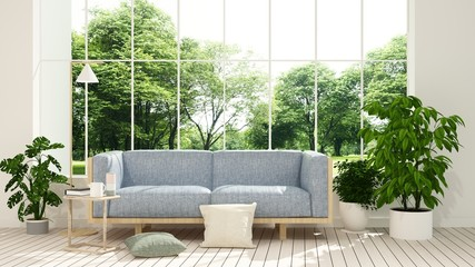 The interior minimal hotel relax space 3d rendering and nature view background Wall mural