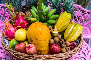 Assorted fruit basket.