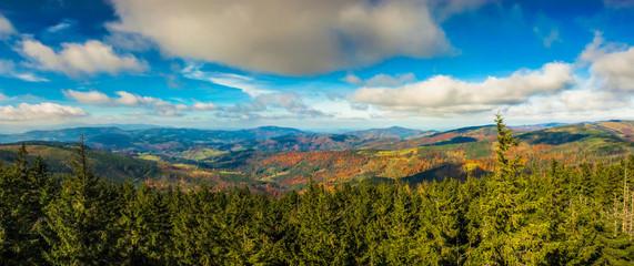 Fototapeta Jesienna panorama Beskidów obraz