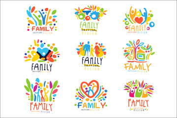 Colorful Family labels original design, set of logo graphic templates