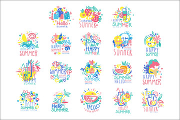 Happy Summer logo template original design set, colorful hand drawn vector Illustrations