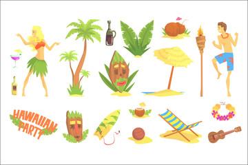 Hawaiian party set, Hawaii symbols vector Illustrations