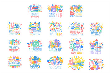 Kid Holidays, Happy Birthday logo template original design set, colorful hand drawn vector Illustrations