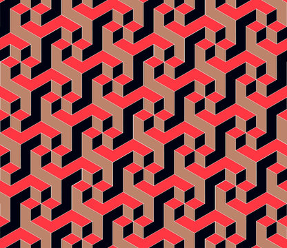 geometric seamless tile with rotating cubic pattern in red black