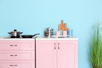 Modern furniture in kitchen