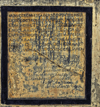 Old Plaque at Elmina Castle (also called the Castle of St. George)