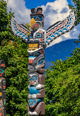 First Nations American Indian thunderbird totem pole in Stanley Park in Vancouver Canada