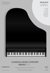 Music Grand Piano Poster Background Template Vector illustration