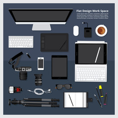 Creative & Graphic Design Tool Workspace isolated vector illustration