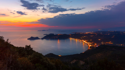 View from the hill to Agios Georgios bay with the long beach at Corfu island, Greece