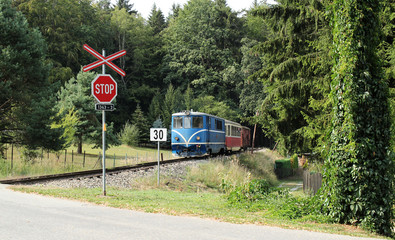 Old train is appraching the station. Romantic forest scenery with train.  Train trip.