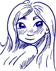 cartoon tekening meisje met donkere ogen